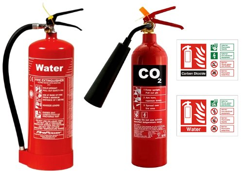9 Litre Water Fire Extinguisher & 2kg CO2 Fire Extinguisher with High Quality ID Signs