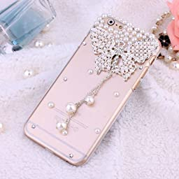 iphone 6 plus case ,hard back cover crystal clear case skin shell for Appple iphone 6 plus 5.5 inch Wellpad (pearl butterfly)