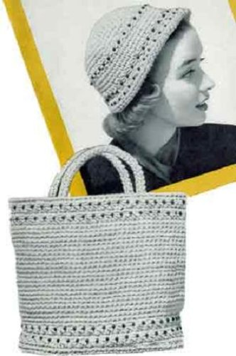 CROCHETED BEADED TOTE BAG & MATCHING CLOCHE HAT - 2 Vintage 1950's Crochet Patterns (ePatterns) - Instant Download Ebook - AVAILABLE FOR DOWNLOAD to Kindle ... women, ladies, girls, yarn, crafts, diy)