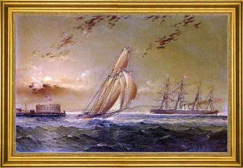 "James E Buttersworth English Steamer Off Staten Island - 16"" X 24"" Framed Premium Canvas Print front-618172"