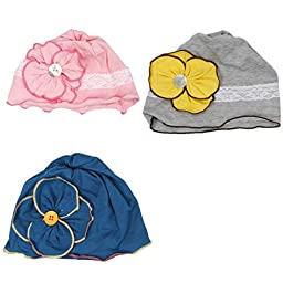 Bundle Monster 3 pc Baby Girl Toddler Soft Cotton Knit Various Design Pattern Flower Hat Beanies - Set 1: Country Girl