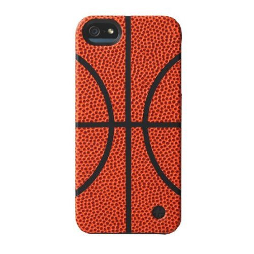 Great Sale Trexta 18791 Sports Series Snap-On Leather Case for iPhone 5 & 5s - Retail Packaging - Basketball
