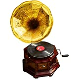 Old Days Collectible HMV Technology Working Gramophone Record Player (One Sound Box, One Horn, Ten Pins, One Turntable, One Jaw, One Key, One Manual)
