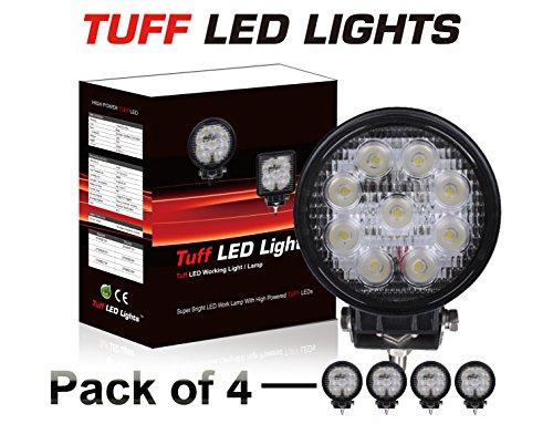 """Tuff Led Lights 4 X 4"""" Inch Round 27Watt Led Work Lamp Light 1450 Lumen, Off Road, Atv, Utv, Polaris Ranger"""