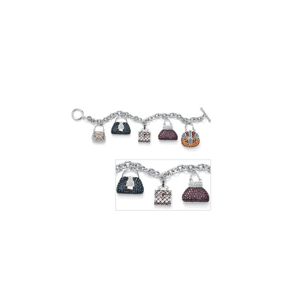 Silver Tone Multi Colored Crystal Purse Charm Bracelet Jewelry