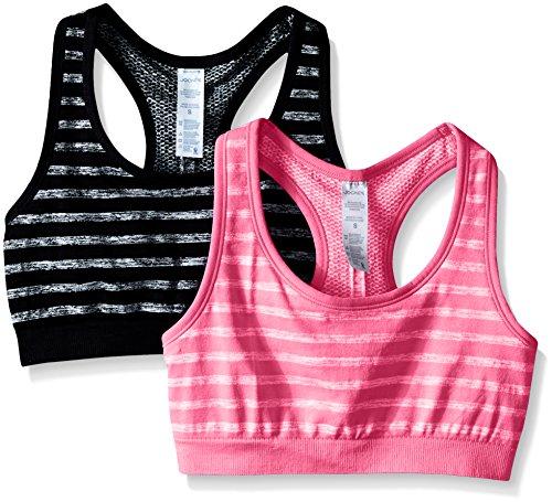 Jockey Women's 2 Pack Reversible Tonal Space Dye Seam Free Sport Bra, Black/Candy Pink, Large