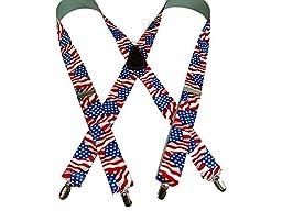 Classic US Flag Pattern Holdup Suspenders 1 1/2\