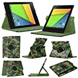 Stuff4 MR-NX7-2-L360-PAT-GCAM-STY-SP Camouflage Designed Leather Smart Case with 360 Degree Rotating Swivel Action and Free Screen Protector/Stylus Touch Pen for 7 inch Google Nexus 7