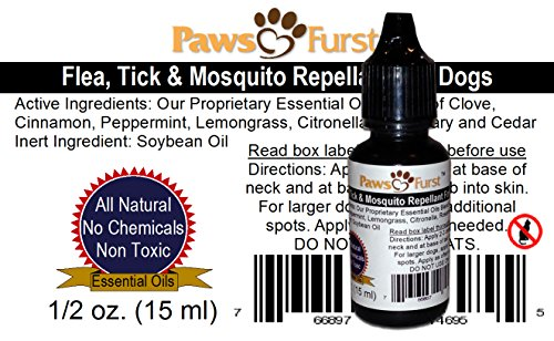 Paws Furst All Natural Holistic Flea, Tick and Mosquito Repellant for Dogs (1/2 oz Multi Dose Bottle with Dropper Tip) (Essential Oils)