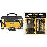 DEWALT 20V MAX Impact Driver and Hammer Drill Combo Kit (DCK285C2) with DEWALT DW1354 14-Piece Titanium Drill Bit Set (Tamaño: 2-Tool)