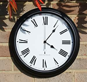 Perfect Time Radio Controlled Outdoor Garden Clock - Black - 38cm