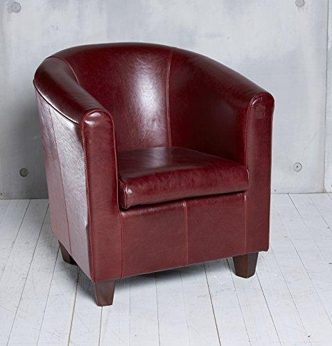 Cocktailsessel Hera bordeaux rot Echtleder Lounge Ledersessel Vintage Clubsessel