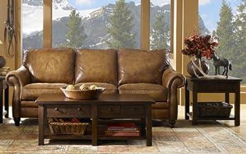 Aspen 100% Full Aniline Italian Leather Love Seat (Shown in Artisano Antique)
