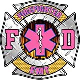 Firefighter Decal/Sticker - 4'x4' Pink Diamond Plate Style Firefighter/EMT Exterior Window Decal