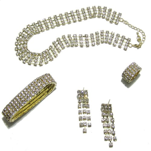 C53 Gold Plated Crystal Diamante Choker Necklace, Earrings, Bracelet And Ring Jewellery Set
