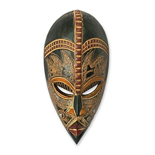 NOVICA Decorative Nigerian Large Wood Mask, Brown 'King's Companion'
