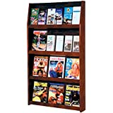 12 Pocket Magazine / 24 Pocket Brochure Wall Display Wood Finish: Dark Red Mahogany