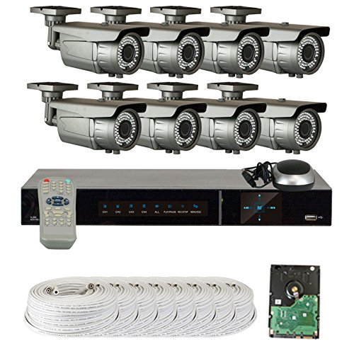 Gw Security Vd8Ch8C50Hdsdi 8 Channel Hd Sdi Dvr 1080P Security Camera System With 8 X 2.1 Mp 1080P Varifocal Zoom Outdoor Cameras And 2 Tb Hard Drive (Grey)