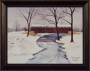 Cold Crossing by Billy Jacobs 15x19 Country Winter Landscape Covered Bridge Snow Snowman Primitive Folk Art Print Wall Décor Framed Picture