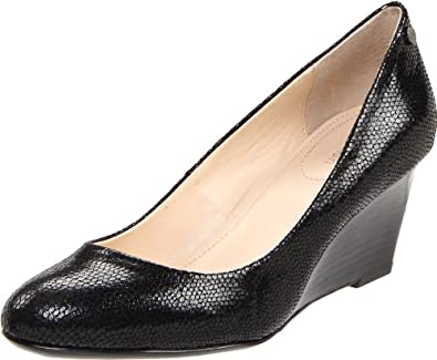 Calvin Klein Women's Saxton Wedge Pump,Black Patent Lizard,6.5 M US