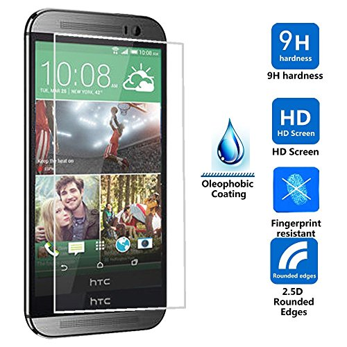 Motong Htc One M8 0.3Mm Ultra Thin 9H Hardness 2.5D Round Edge Tempered Glass Lcd Hd Premium Screen Protector - Anti-Scratch/ Shatterproof/ Anti-Fingerprint/ Water & Oil Resistant (Htc One M8)