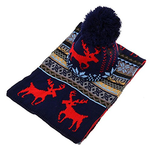 [Tangc Womens Knitted Ski Cap Hat Scarf Warm Wrap Set Christmas Snowflake Deer Ethnic (Blue)] (Ethnic Hats)