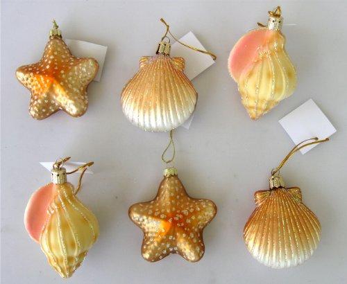 Blown Glass Seashell Christmas Ornaments