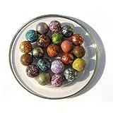 15 Billes en terre MOUCHETEES de différentes couleurs 16 mm - Fabrication artisanale