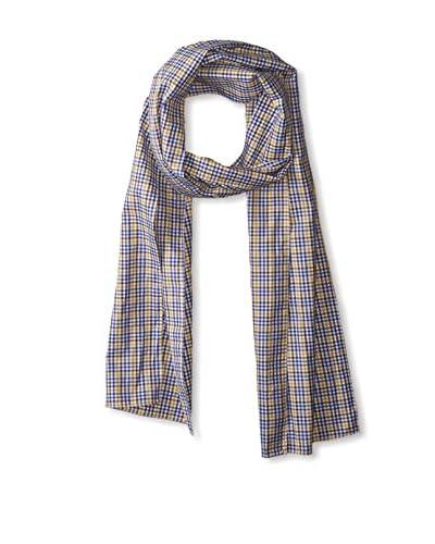 J. McLaughlin Men's Cotton Check Scarf, White/Mustard/Royal