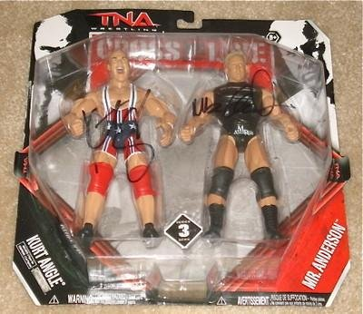 Kurt Angle & Mr. Anderson Autographed Action Figure (w/ Proof!) Tna Wwe Jakks - Autographed Wrestling Cards