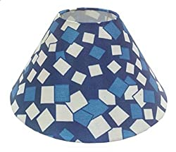 AC Lampshade Tapered Blue checks (Size in cms- 25X25X14, Color- Multicolor)