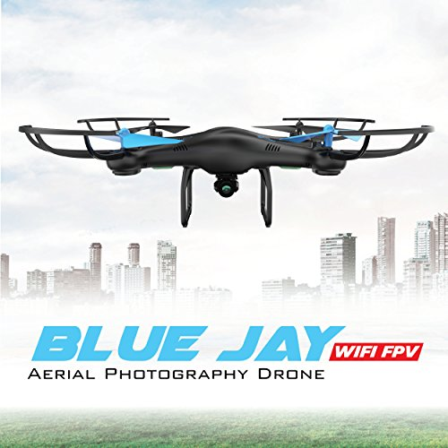 Drones with Camera for Adults or Kids - U45W Blue Jay WiFi FPV Drone with  Camera for Beginners, HD VR Drone Flying Toy with 3 Camera Drone Batteries