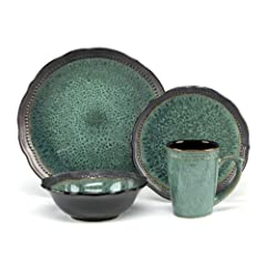 Cuisinart Stoneware Jenna Green Collection 16-Piece Dinnerware Sets by Cuisinart