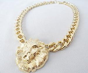 ClickONE Gothic Vintage Big Short Golden Lion King Necklace Wear Pendant - Golden