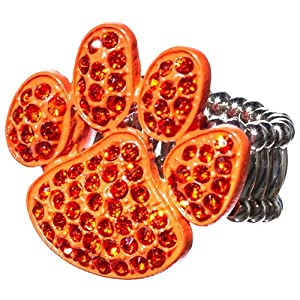 Auburn Tigers Silver Tone Stretch Ring with a Paw Print in Orange Rhinestones by Judson