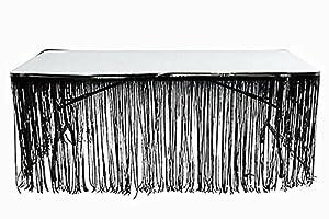 Metallic Black Foil Fringe Table Skirt Pkg of 1