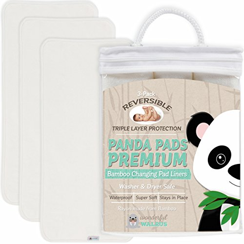 PANDA PADS PREMIUM REVERSIBLE 3 PACK Avail in 2 Sizes. BEST Bamboo Changing Pad Liners - 3 NON-SLIP Soft & Absorbent Layers. Waterproof, Machine Wash & Dry, Antibacterial & Hypoallergenic. Great Gift! (Cloth Diaper Dryer compare prices)