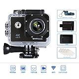 Vemico アクションカメラ 4K WIFI搭載 1600万画素 1080P 2インチ液晶画面 170度広角 40m防水 スポーツカメラ バイクや自転車/カート/車に取り付け可能 スポーツや空撮に最適 複数のアクセサリー 予備1050mAhバッテリー付属 (ブラック)
