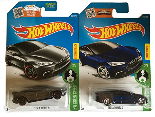 Hot Wheels 2016 Blue and Dark Grey Tesla Model S 2-Car Set (Tesla Model S Hot Wheels compare prices)