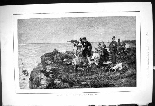 Antique Print Of 1878 Scene Cliffs Boulogne France Telescope Family Picnic