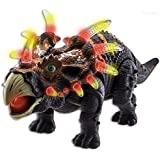 WolVol Walking Dinosaur Triceratops Toy Figure with Many Lights & Loud Sounds, Real Movement (Battery Powered)