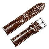 Crocodile Grain Watchband (Chrono) Brown 19mm Watch band - by deBeer