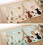 キュートで かわいい エッフェル塔 と 猫の デザイン マット フロアー マット 40×60cm シューズ収納袋付