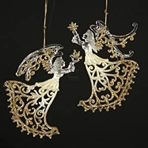 Seasons of Elegance - Clear and Gold Lace Angel Ornaments - Set of 2