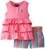 U.S. POLO ASSN. Girls 2-6X Tiered Ruffle Tank Top with Plaid Short Shorts, Pink Lemonade, 3T