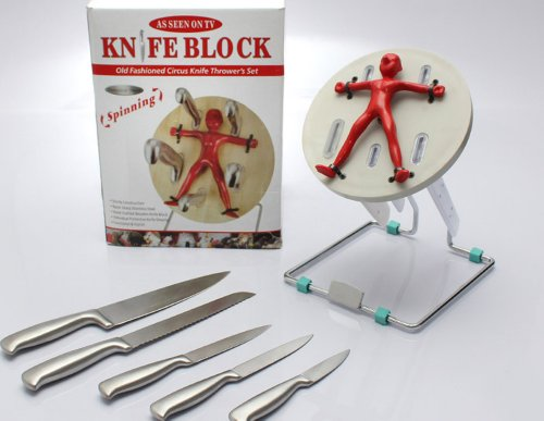Barbuzzo Throwzini 5-Piece Knife Set with Block Excellent Knife Throwing Rack Thrower's Knife
