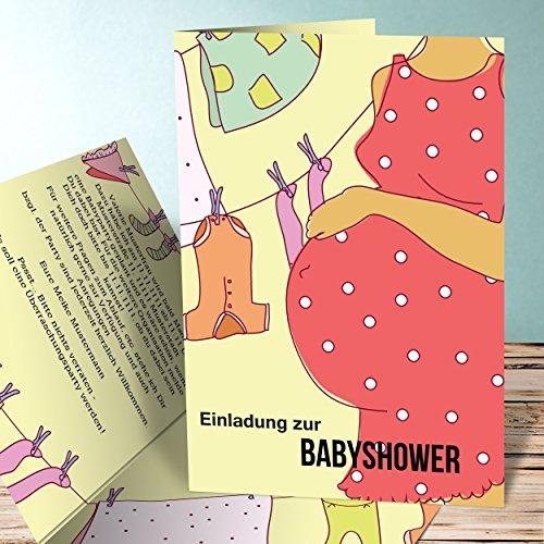 Einladungskarte Babyparty, Wäscheleine 25 Karten, Vertikale Klappkarte 105x148 inkl. Umschläge, Gelb