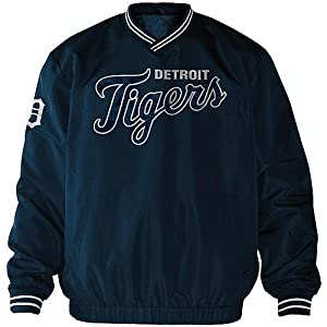 Detroit Tigers MLB Mens Match-Up Wordmark Pullover Embroidered Jacket - Navy by G-III Sports