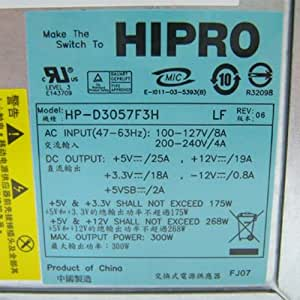 Authentic Real HIPRO Brand - not a substitute Power Supply- 300W HP-D3057F3H For HP-D3057F3R, 5188-2625, DPS-300AB Power Supply Replacement, Manufacturer: HIPRO Model# HP-D3057F3H, P/N:5188-2626