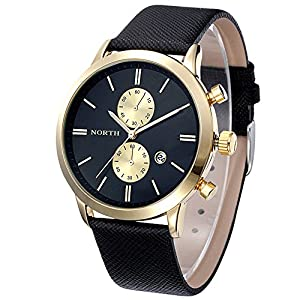 Dreaman 1PC Fashion Men Casual Waterproof Date Leather Watch Black Gold